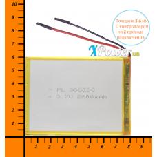 Аккумулятор для планшета 2800mAh 3.7V 3.6x60x80mm 2 провода подключения