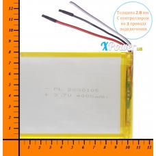 Аккумулятор для планшета 4000mAh 3.7V 2.6x80x106mm 3 провода подключения