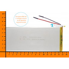 Аккумулятор для планшета 5500mAh 3.7V 3.6x65x150mm 2 провода подключения