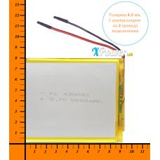 Аккумулятор для планшета 5000mAh 3.7V 4.2x80x92mm 2 провода подключения