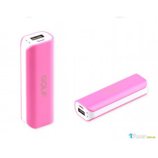 Внешний аккумулятор [GOLF] Power Bank GF-801 2600 mAh, white+pink
